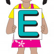 Letter E Girl — Stock Vector