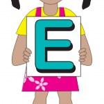 Letter E Girl — Stock Vector