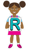 Letter R Girl — Stock Vector