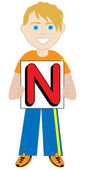 Letter N Boy — Stock Vector