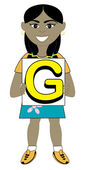 Letter G Girl — Stock Vector
