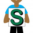 Letter S Boy — Stock Vector