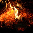 Stock Photo: Burning wood in fireplace