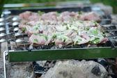 Saftiga skivor kött förbereda i brand — Stockfoto