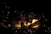 Burning wood in fireplace — Stock Photo
