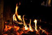 Combustion du bois dans la cheminée — Photo