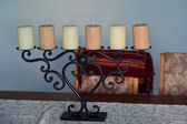 Old candelabra and candles — Stock Photo