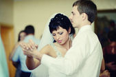Wedding couple dancing waltz — Stock Photo