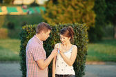 Happiness and romantic Scene of love couples partners — Stock Photo