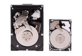 Close up of opened hard disk drive, data saving. — Stock Photo