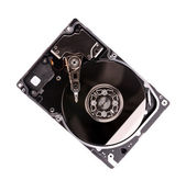 Open computer harddisk isolated on white background — Stok fotoğraf
