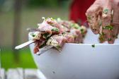 Meat prepare on fire — Stock Photo