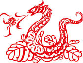 Chinese Style Red Snake Breathing Fire Ball Art — Vector de stock