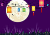 Chinese Mid-autumn festival city night scene background — Stock Vector