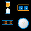 Stock Vector: Different Clocks set