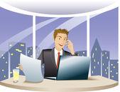 Financial adviser works overtime — Stock Vector