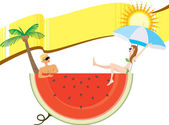 Sommarsemester med banner — Stockvektor