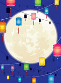 Full moon and hanging Chinese lantern background design — Stock Vector