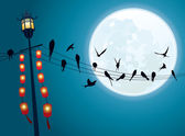 Swallows on the string with Full moon background — Stock Vector
