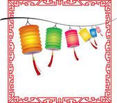 String of bright hanging Chinese lanterns decorations — Stock Vector