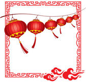 String of bright hanging Red Chinese lanterns decorations — Stock Vector