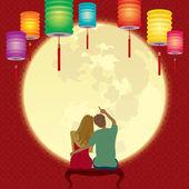 Couple gaze at the glorious full moon — Stock Vector