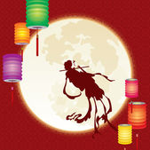Chinese fairy fly to the moon — Stock Vector