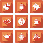 Chinese mid autumn festival icon design set — Stock Vector