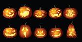 Halloween Pumpkin lanterns at night — Stock Vector