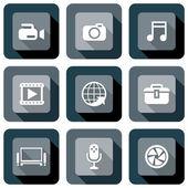 Multimedia icon design set — Stock Vector
