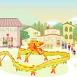 Dragon dancing parade when Chinese new year day — Stock Vector