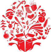 Christmas Elements bounce out of the Gift Box — Stock Vector