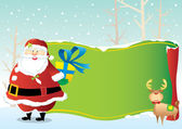 Deer and Santa claus holding the gift and stand in front the green decoration scroll — Vector de stock