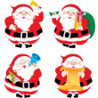 Stock Vector: Four SantClaus in different postures illustration set