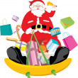 Santa Claus snow sliding and deliver the Christmas gift — Stock Vector #37427803