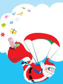 Santa Claus skydiving with his deer and gift delivery — Stock Vector