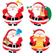 Four Santa Claus in different postures illustration set — Stock Vector