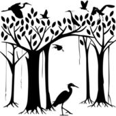 Egrets and banyan tree forest in Silhouette illustration — Stock Vector