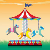 Carousel, merry go round illustration — Stock Vector