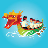 Chinese Dragon Boat competition illustration — Stock Vector
