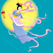 Chinese Fairy flying to the moon — Vector de stock