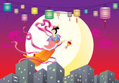Chinese Fairy flying to the moon illustration — Vecteur