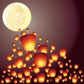 Wish lanterns fly over the full moon illustration — Stock Vector
