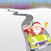 Santa driving car illustration — Stockvektor