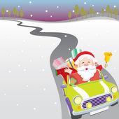 Santa driving car illustration — ストックベクタ