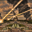 Stock Photo: Meteorite shower over paris, destroying the Eiffel Tower