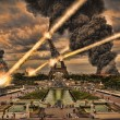 Meteorite shower over paris, destroying the Eiffel Tower — Stock Photo