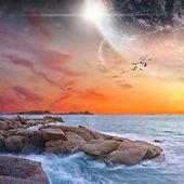 Planeta krajina pohled z pláže — Stock fotografie