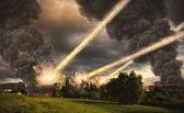 Meteoriet douche over een stad — Stockfoto