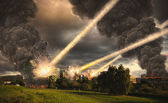 Meteorite shower over a city — Stock Photo
